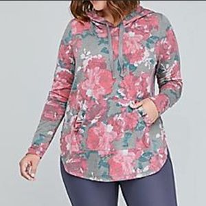Lane Bryant Livi Active Gray Hoodie Red Floral